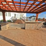 outdoor kitchen and shade structure