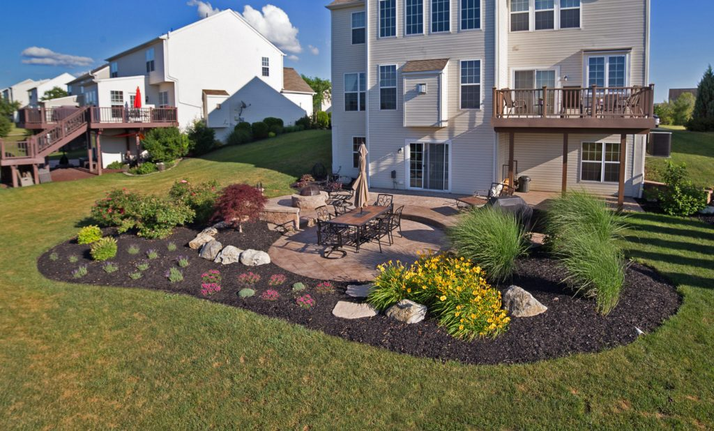 backyard landscape design with patio and planting beds