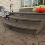 Decorative concrete steps with step lights