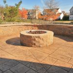 A fire pit and seating wall
