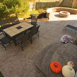 A backyard patio design with a fire pit and seating wall