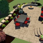 A landscape design of a patio and fire pit