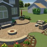 A backyard design of a patio with landscaping