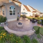 A stamped concrete patio for a backyard